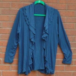 Fever Blue Ruffle Open Front Knit Cardigan XL